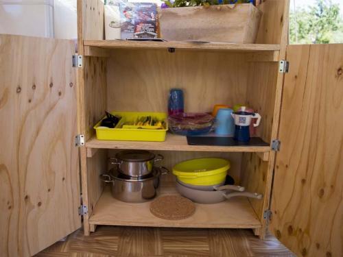tenda attrezzata cucina